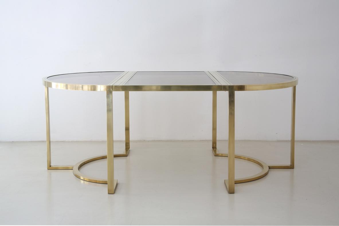 Tavolino Cristallo Ottone.Romeo Rega Tavolo Da Pranzo In Ottone Con Piano In