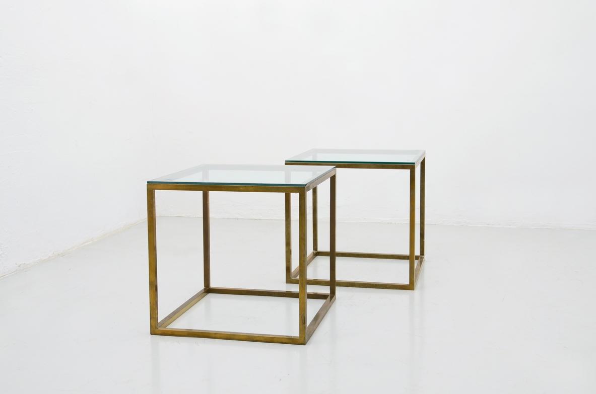 Tavolino Cristallo Ottone.Vintage Design Modernariato Art Deco Design Del 900