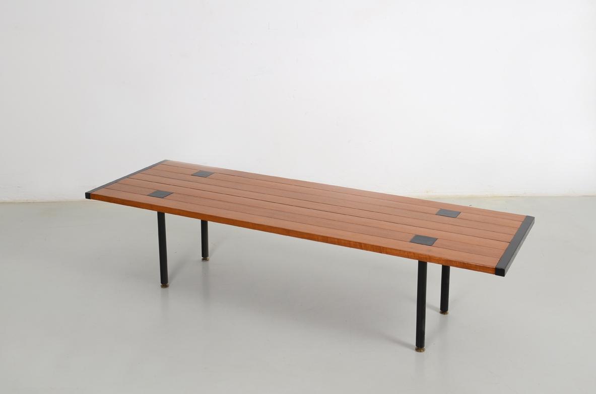 Tavolino basso laccato nero con vaschetta in acciaio stile willy
